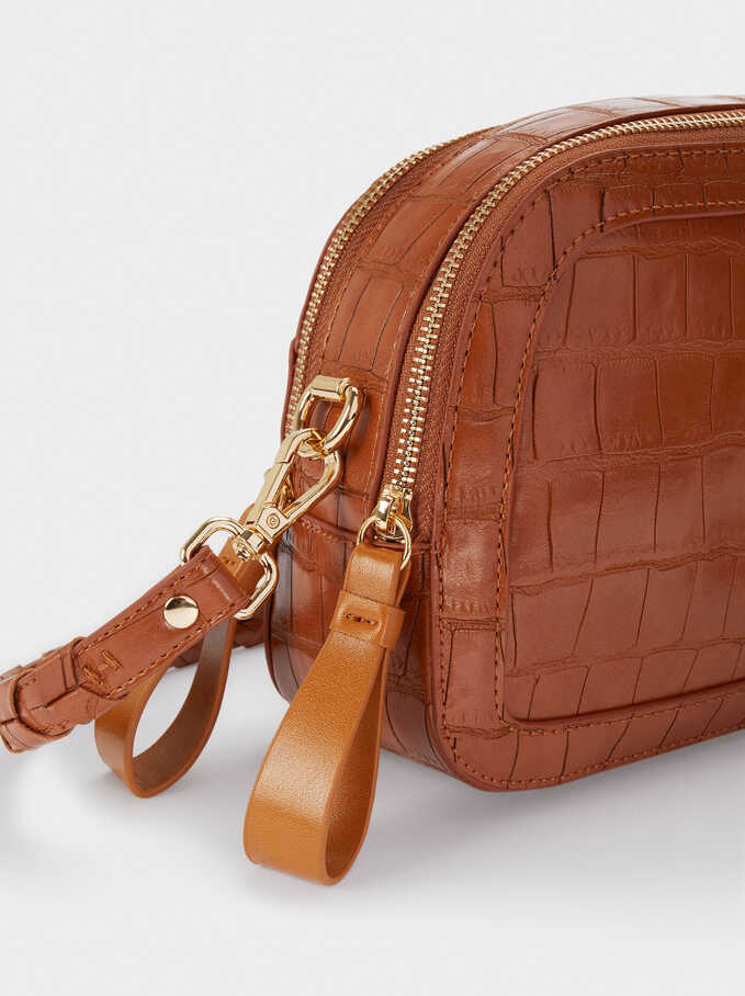 Animal Embossed Crossbody Bag, Camel, hi-res