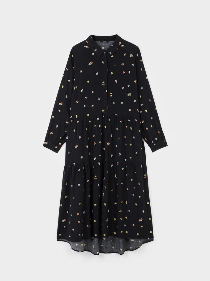 Floral Print Dress, Black, hi-res