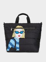 Nylon Tote Bag With Girl Print, Black, hi-res
