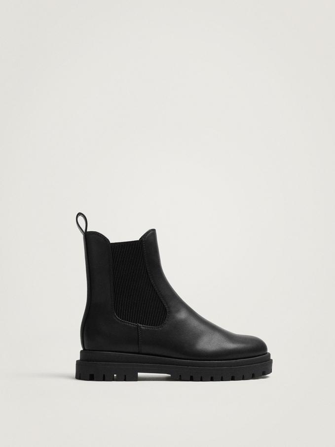Elastic Ankle Boots, Black, hi-res