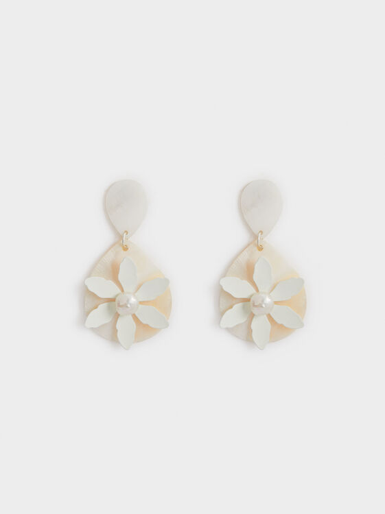 White Fields Floral Dangle Earrings, White, hi-res