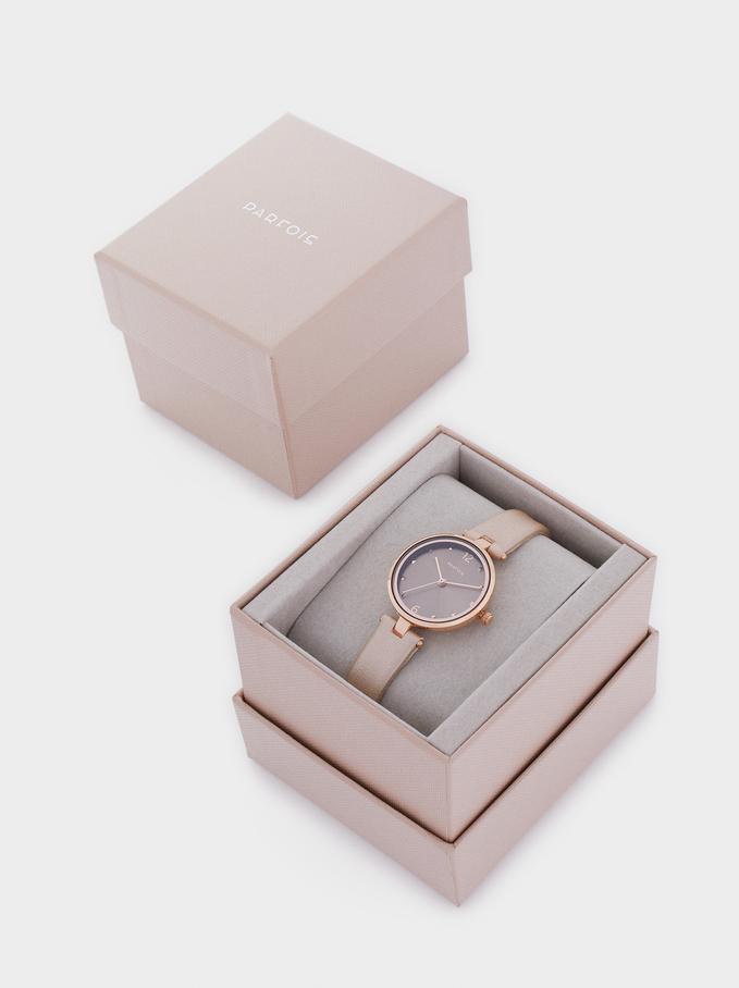 Reloj Metálica Oro Rosa, Rosa, hi-res