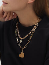 Short Gold Chain Necklace With Faux Pearl And Crystal Detail, Golden, hi-res
