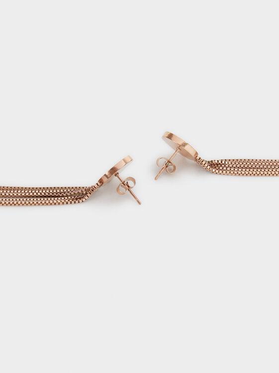 Long Steel Tassel Earrings, Orange, hi-res