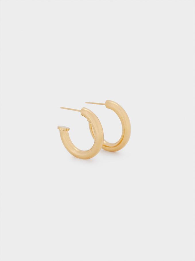 Stainless Steel Hoop Earrings, Golden, hi-res