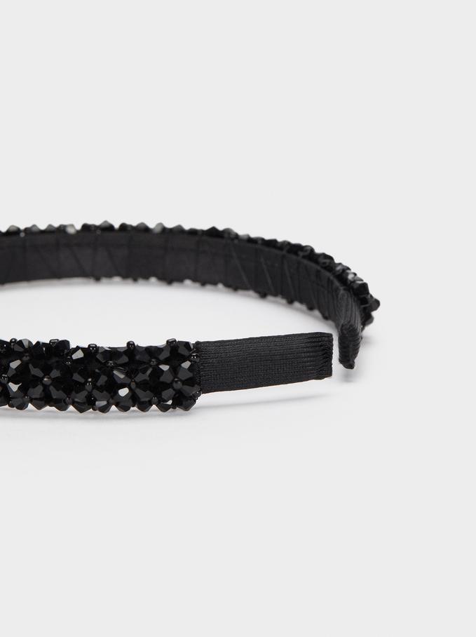 Serre-Tête Perles Fantaisie, Noir, hi-res