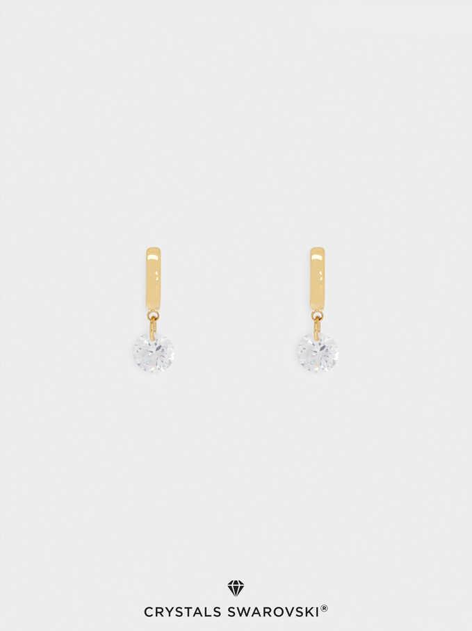 Aros Cortos De Acero Con Cristales Swarovski, Dorado, hi-res