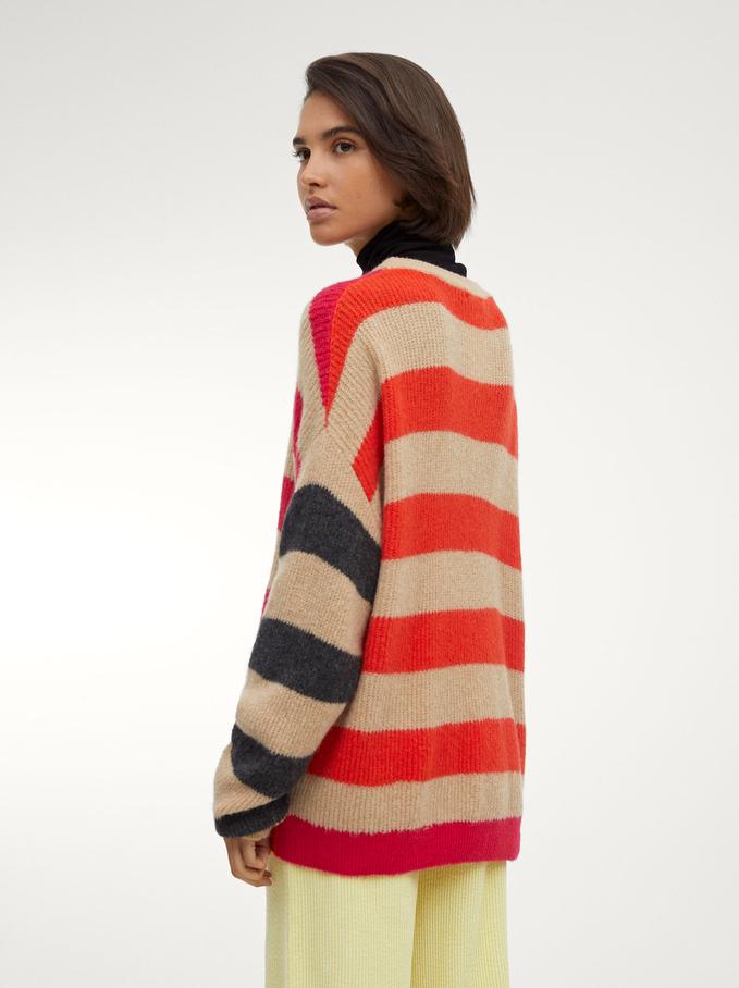 Striped Knitted Sweater, Ecru, hi-res