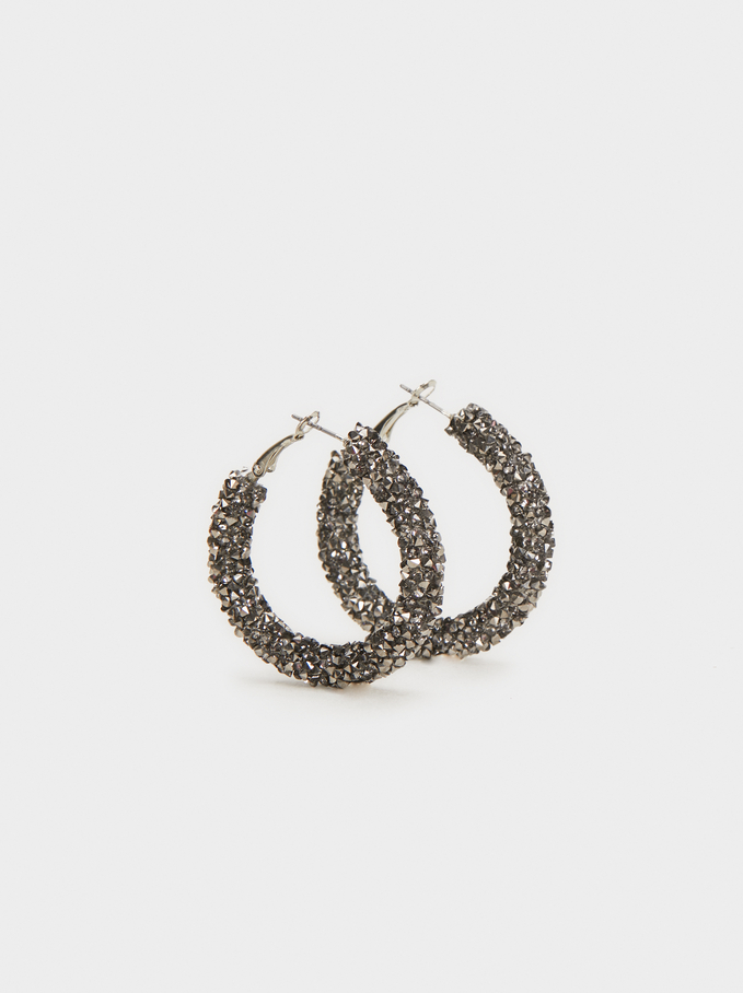 Hoop Earrings With Crystals, Silver, hi-res