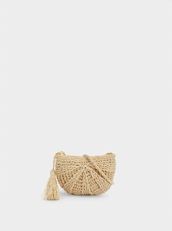Straw Crossbody Bag With Pendant, Beige, hi-res