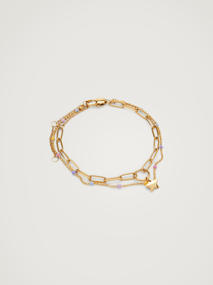 Contrasting Steel Bracelet With Star, Multicolor, hi-res