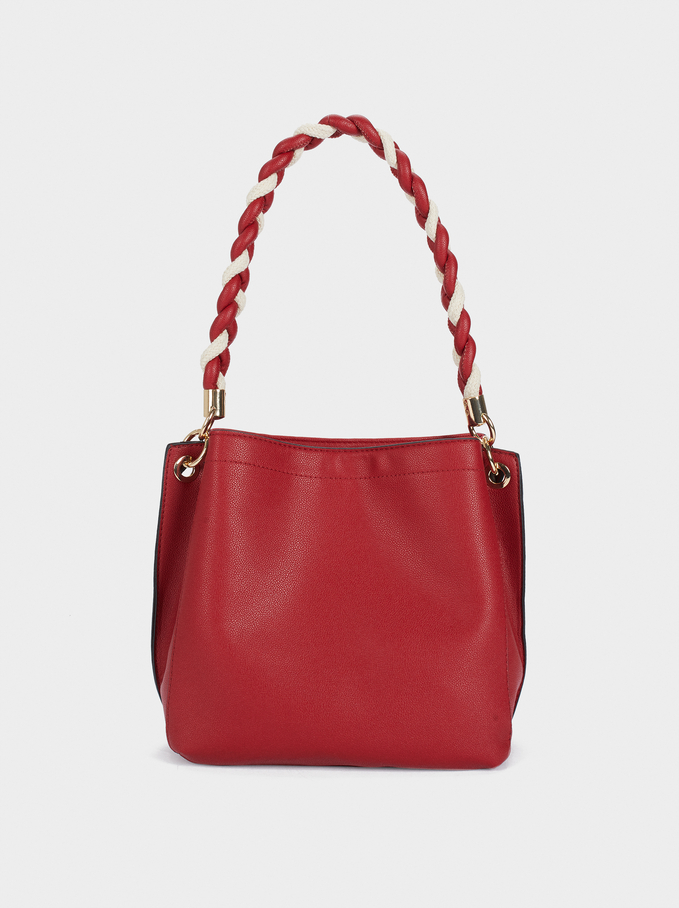 Handbag With Braided Handle, Red, hi-res