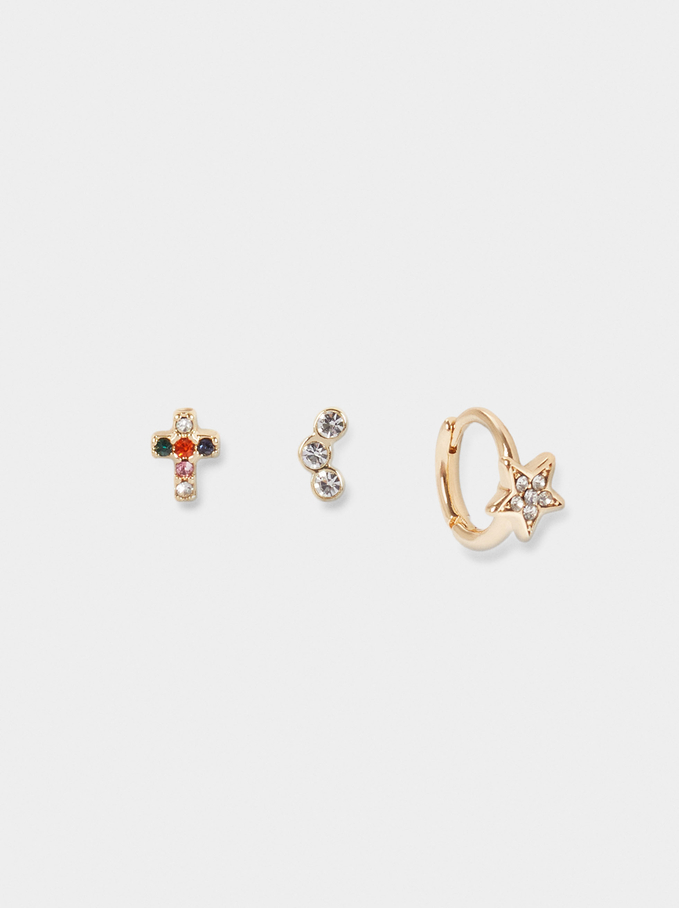 Set Of Short Earrings With Charms And Zirconia, Golden, hi-res