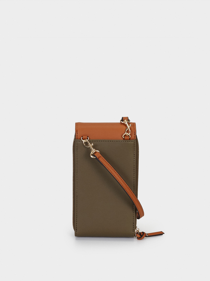 Combined Phone Case With Shoulder Strap, Khaki, hi-res