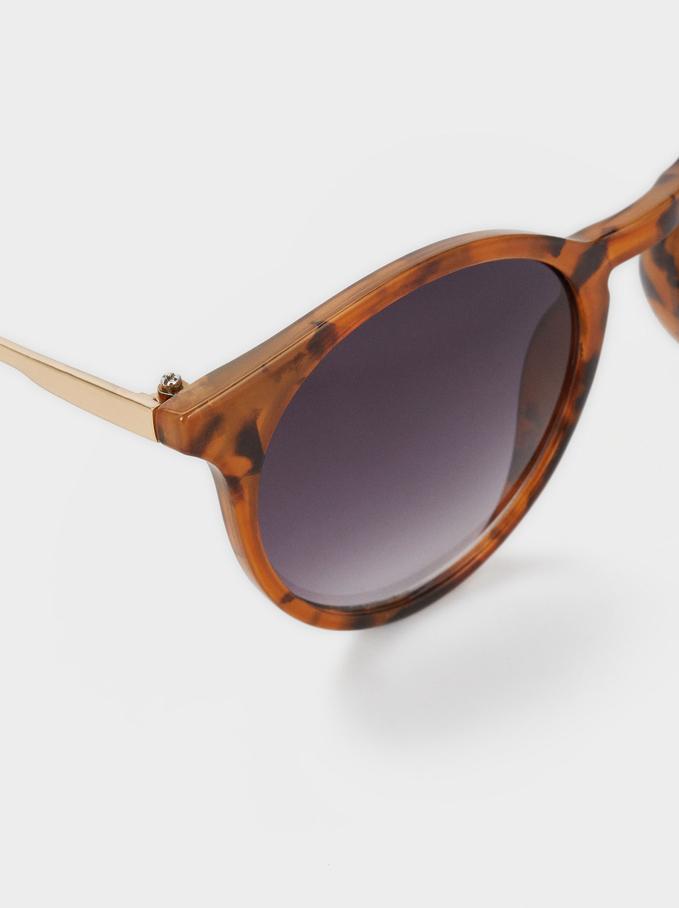 Round Tortoiseshell Sunglasses, Brown, hi-res