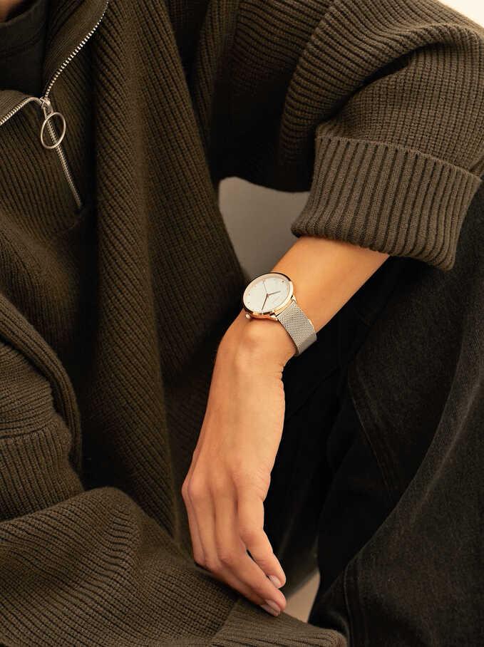 Reloj De Pulsera Correa Malla Metálica, Plateado, hi-res