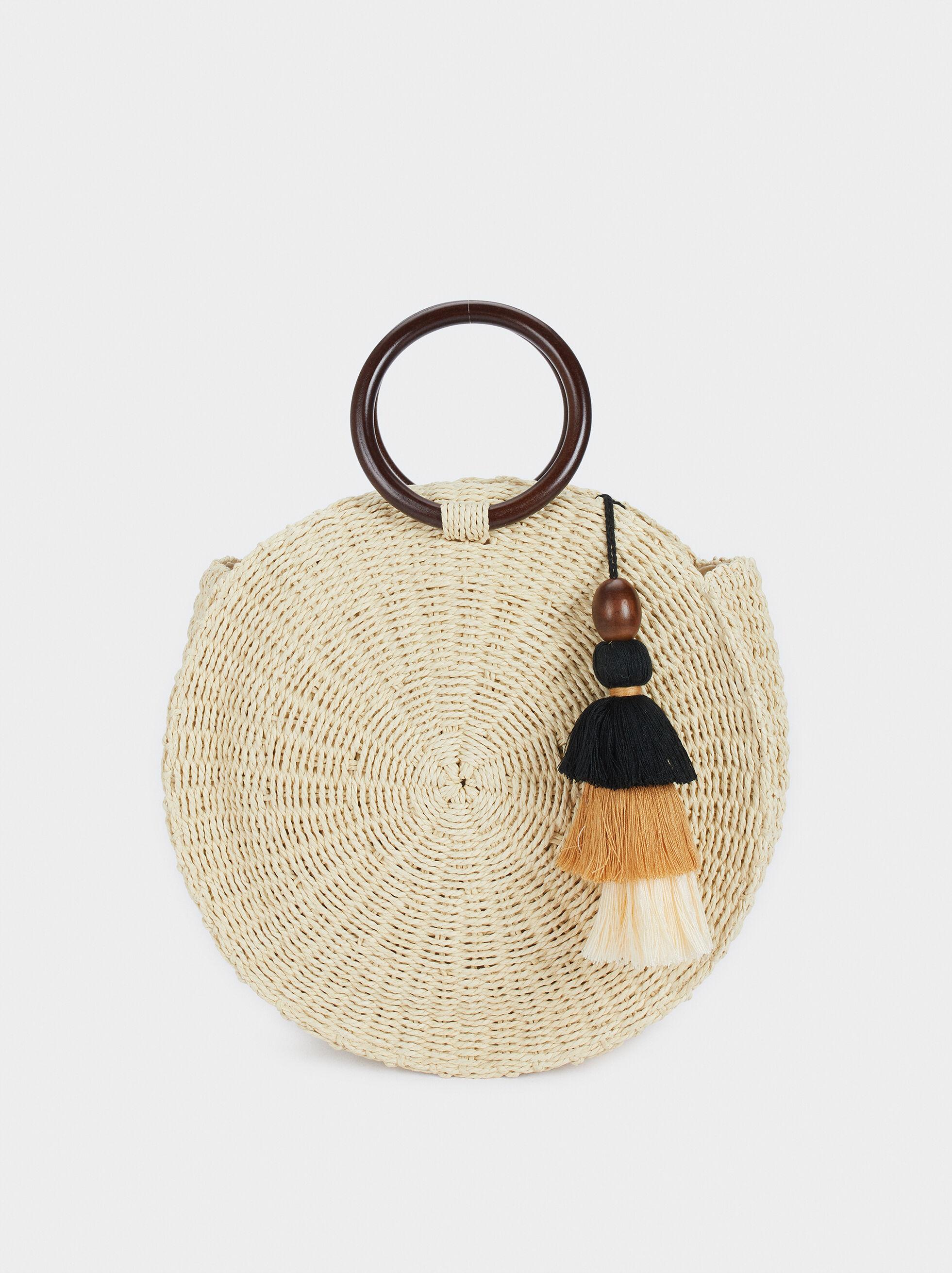 Round Textured Raffia Tote Bag, Beige, hi-res