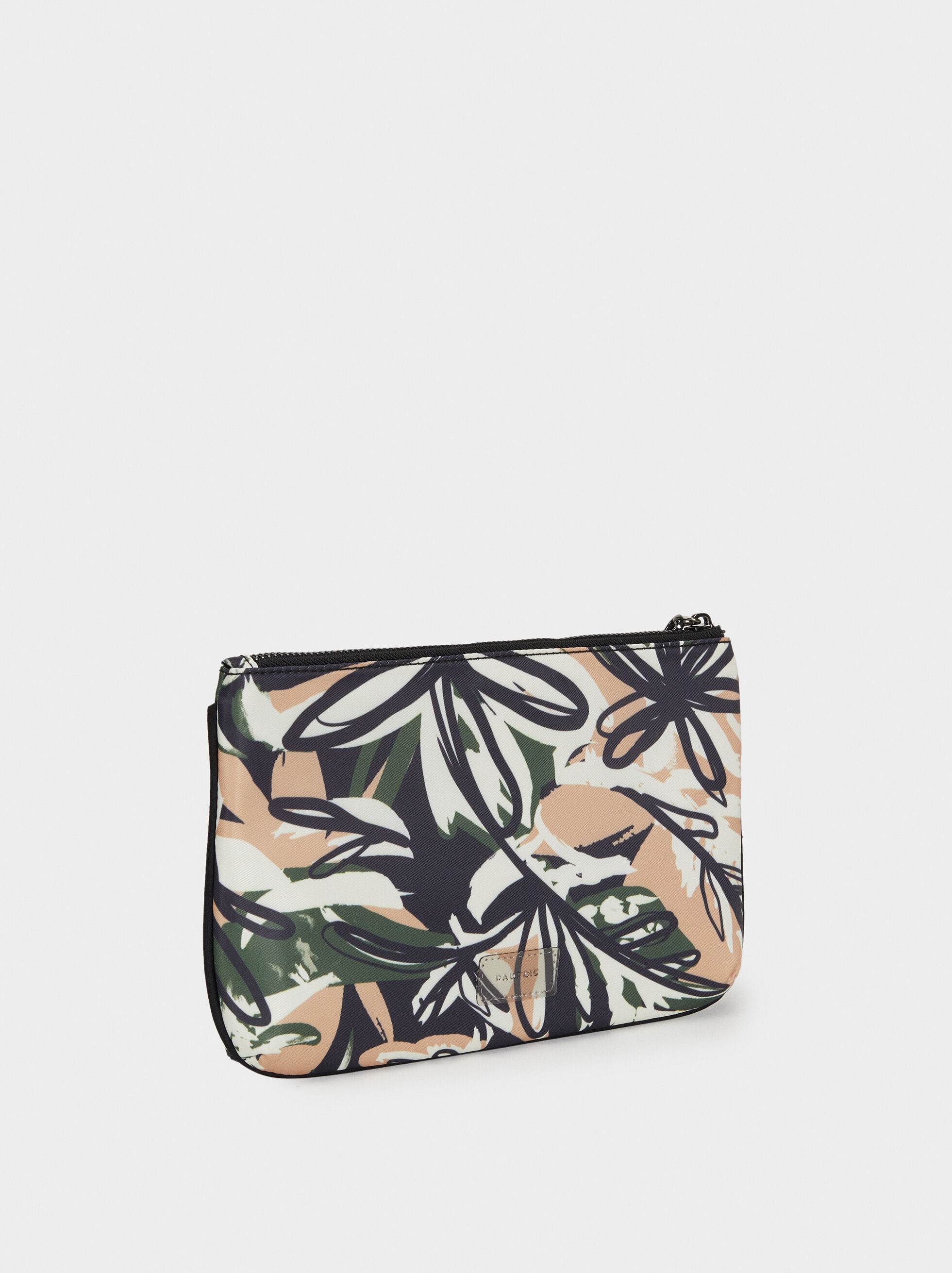 Printed Nylon Toiletry Bag, Black, hi-res
