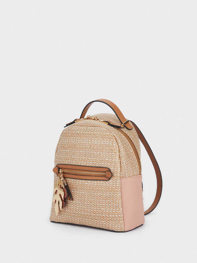 Raffia Textured Backpack, Pink, hi-res