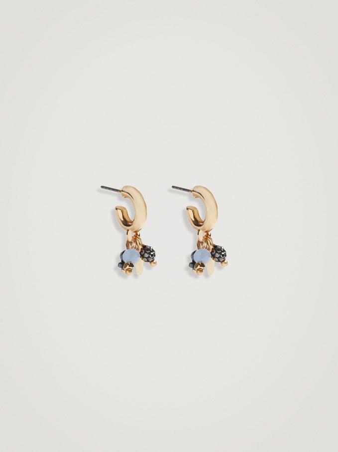 Small Hoop Earrings With Pendants, Multicolor, hi-res