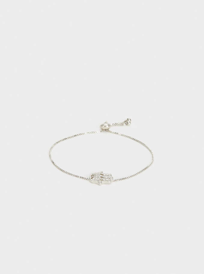 Adjustable Gold Bracelet With Hand Charm, Silver, hi-res