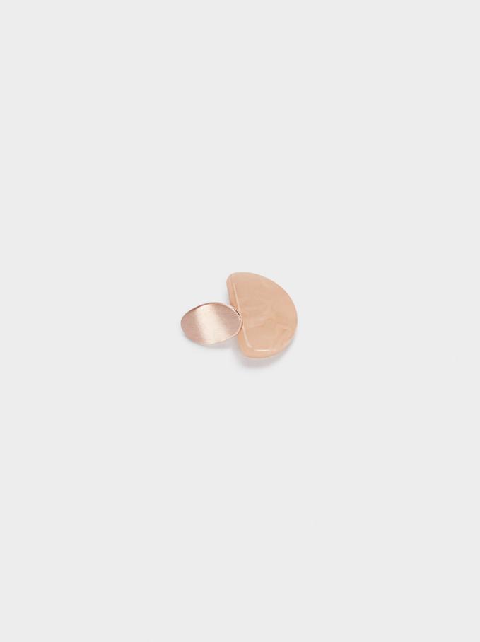 Short Geometric Earrings, Orange, hi-res