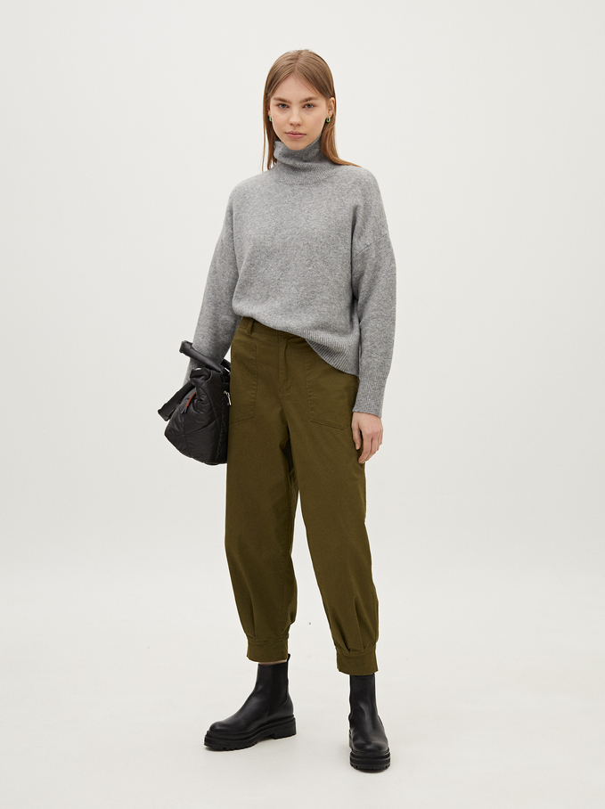 Limited Edition High Waist Baggy Trousers, Khaki, hi-res