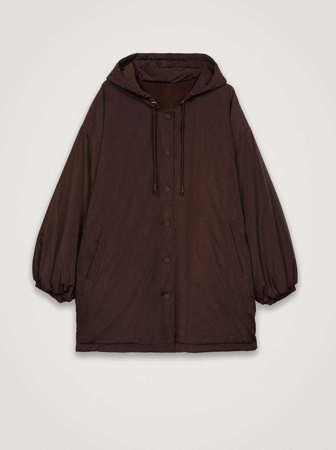 Jacket With Pockets And Hood, Brown, hi-res