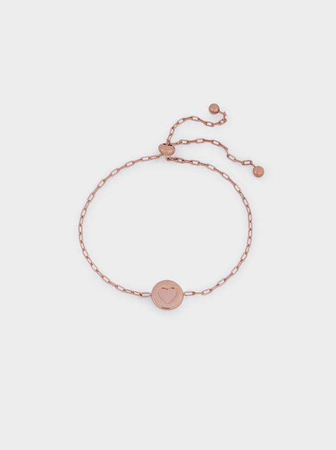 Bracelet Réglable En Acier Et Cœur Doré, Orange, hi-res