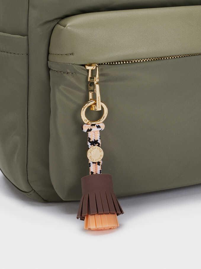 Nylon Backpack With Tassel Detail, Khaki, hi-res