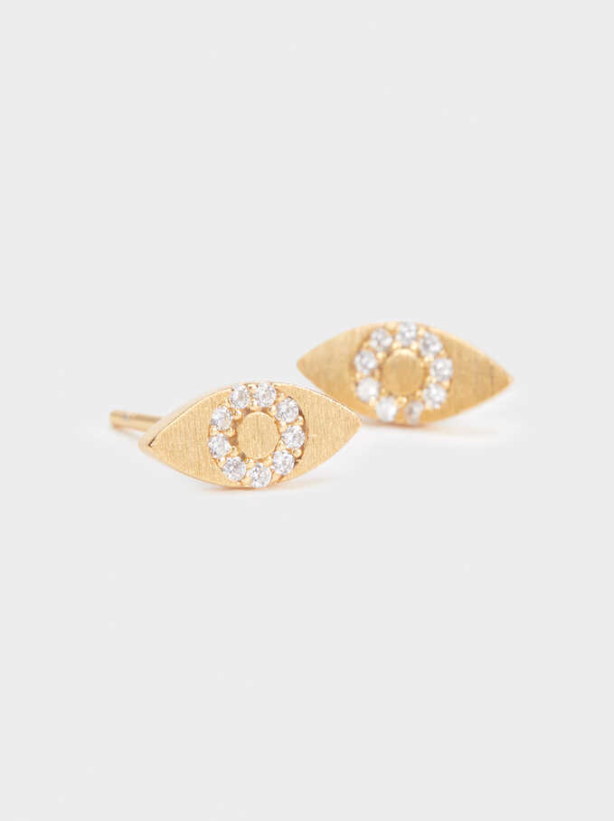 925 Silver Stud Earrings With Rhinestones, Golden, hi-res
