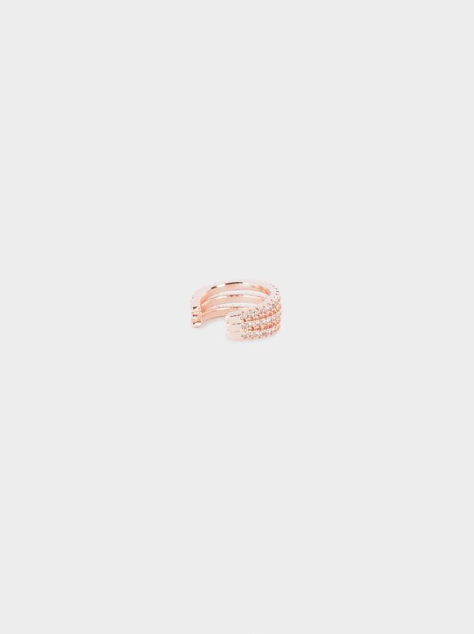 Small Zirconia Earcuff, Orange, hi-res