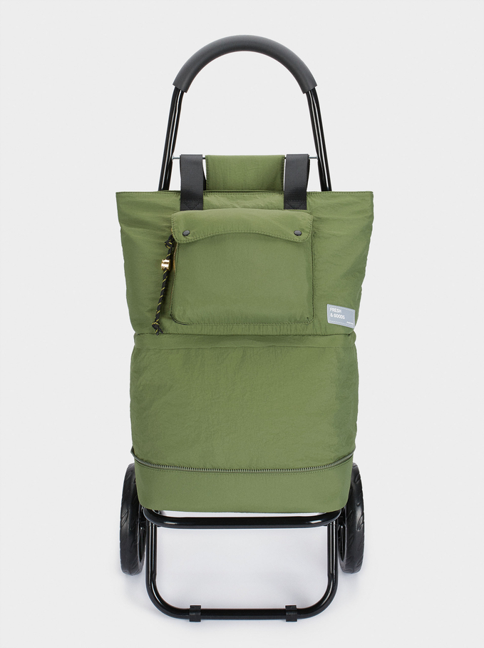 Multi-Functional Folding Shopping Trolley, Khaki, hi-res