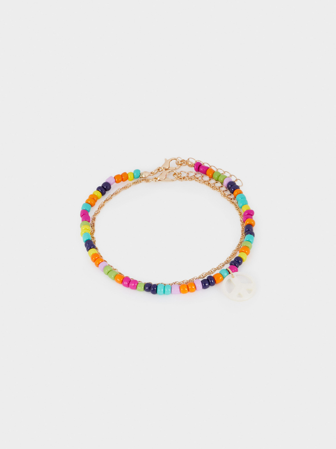 Anklet With Crystals And Peace Pendant, Multicolor, hi-res