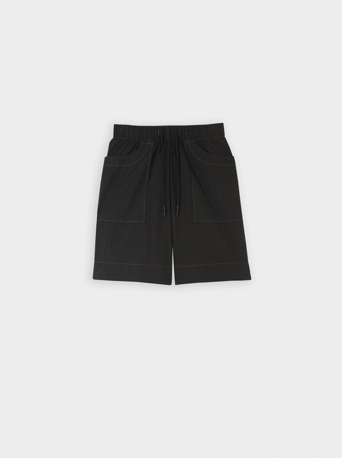 Short Cotton Trousers With Pockets, Black, hi-res