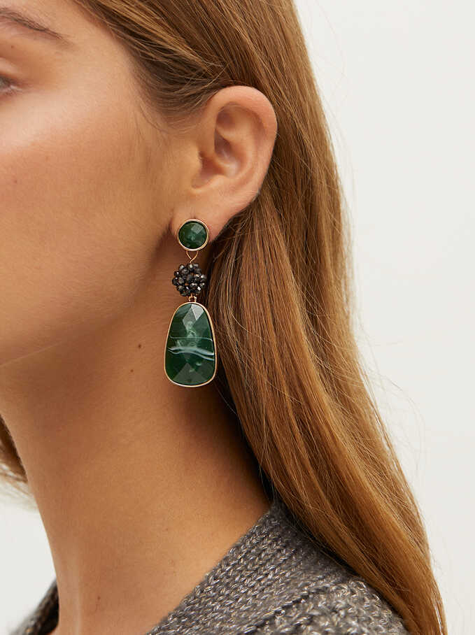 Long Earrings With Crystals, Green, hi-res