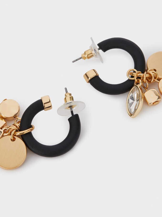 Hoop Earrings With Crystals, Black, hi-res