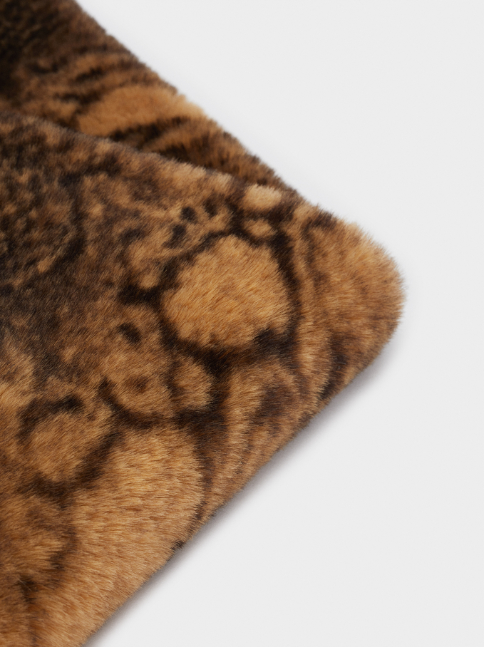 Snake-Print Winter Collar, Brown, hi-res