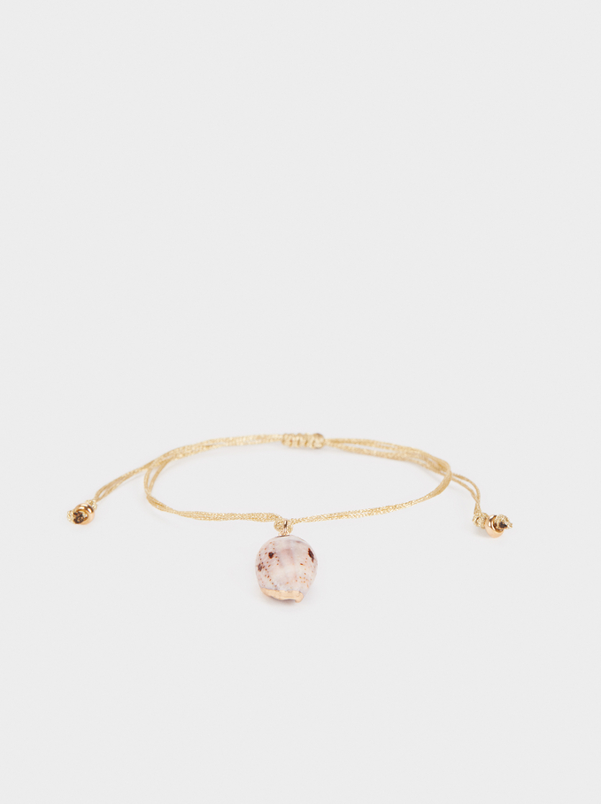 Anklet With Seashell Pendant, Golden, hi-res