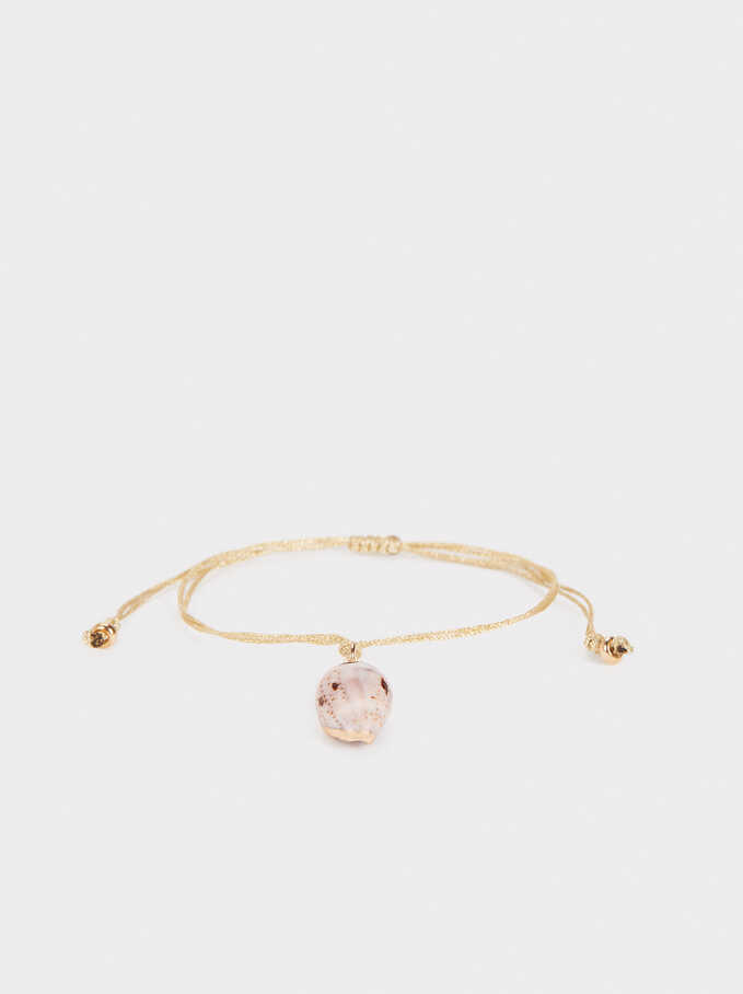 Gold Anklet With Shell, Golden, hi-res