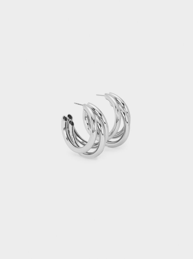Hoop Fever Medium Hoop Earrings, Silver, hi-res