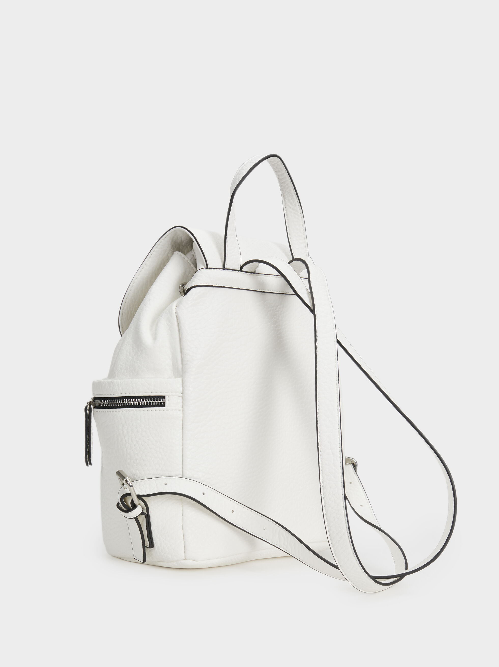 Faux Leather Backpack, White, hi-res