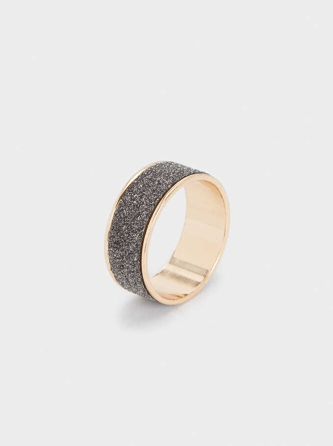 Multicoloured Crystals Ring, Golden, hi-res