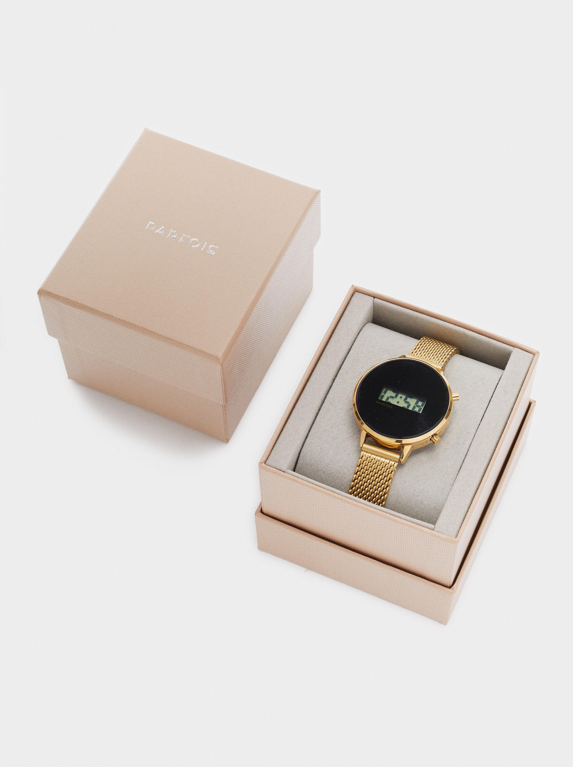 Digital Watch With Metallic Mesh Wristband, Golden, hi-res
