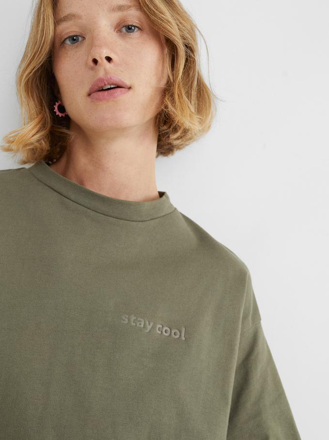 T-Shirt À Col Rond Stay Cool, Kaki, hi-res