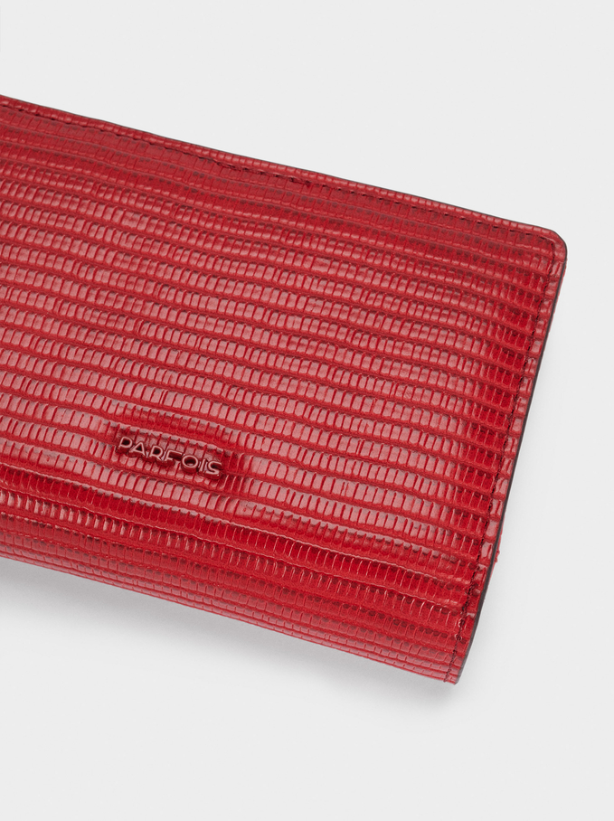 Embossed Animal Print Compact Purse, Red, hi-res