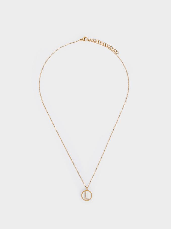 Short Steel Necklace With Letter L, Golden, hi-res