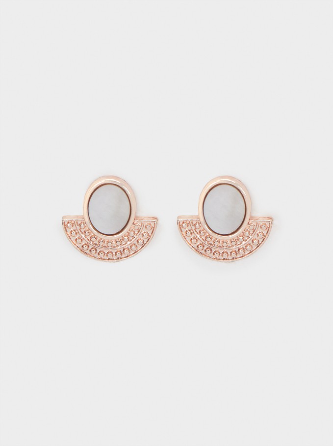 Small Rose Gold Shell Earrings, Orange, hi-res