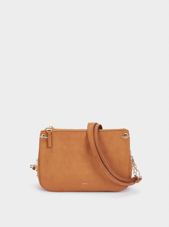 Fake Suede Crossbody Bag With Zip Fastening, , hi-res