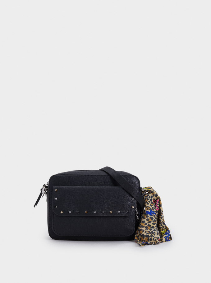 Handkerchief Detail Shoulder Bag, Black, hi-res